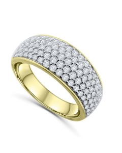 14K Gold Mens Wedding Band Ring Extra Wide 10mm 1.50ctw Diamonds Round Domed Ring for Men