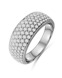14K White Gold Mens Wedding Band Ring Extra Wide 10mm 1.50ctw Diamonds Round Domed Ring for Men