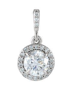 14K White Gold Diamond Pendant Halo With Round Solitaire Center 0.65ctw