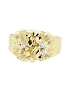 10K Gold Mens Nugget Ring Real Diamonds 0.06ctw Yellow Gold Classic Wide Pinky Fashion Ring for Guys 14mm Wide