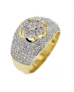 14K Gold Diamond Ring 1.16ctw Mens Ring Solid Gold Domed Style 15mm Wide Round