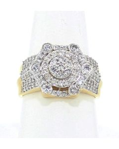 Diamond Ring for Men 14K Gold 1.50ctw Diamonds Fashion Pinky Ring 15mm Wide