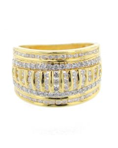 14K Gold Wide Wedding Band Ring Mens 15mm 1.57ctw Diamonds Domed