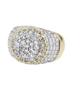 Diamond Ring for Men 14K Gold Round Shaped Cluster 2.3ctw Diamond Big 17mm Wide Domed