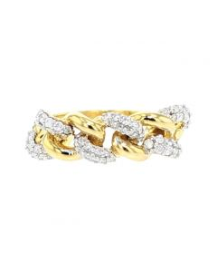 10K Gold Miami Link Style Diamond Ring Mens 1/2ctw Pinky Ring