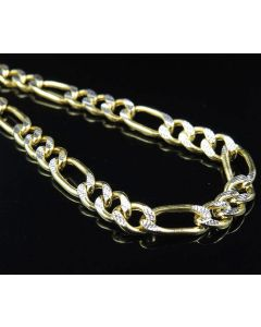 10k Yellow Gold Diamond Cut Figaro Style Box Chain Necklace 6 MM 22-30 Inches
