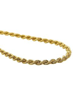 10K Yellow Gold 3 MM Hollow Rope Chain Necklace 16-28 Inches
