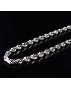 10K White Gold 3.0 MM Hollow Rope Chain Necklace 18-28 Inches