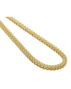 14K Yellow Gold 4.5MM Hollow Franco Box Link Chain Necklace 22-30 Inches