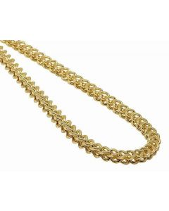 14K Yellow Gold 5MM Hollow Franco Box Link Chain Necklace 22-30 Inches