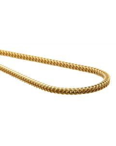 14K Yellow Gold 3MM Hollow Franco Box Link Chain Necklace 20-30 Inches