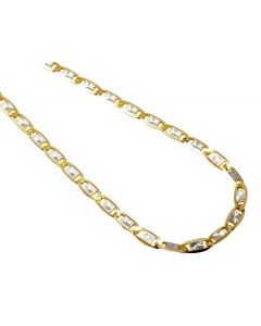 10K Two Tone Gold Valentino Style 3.5MM Chain Necklace 16-24 Inches