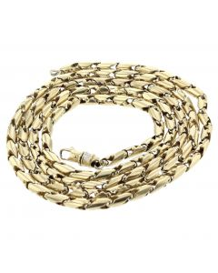 10K Gold Fancy Link Chain Bullet Chain Two Tone 32 Inch Long 83gms 5mm Mens Necklace