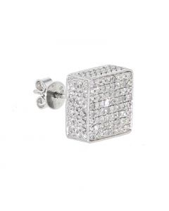 White-Tone Sterling Silver Diamond Earring Wide Single Earring with 0.2ctw