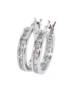 14K White Gold Diamond Earrings Hoop Earrings 15mm Round DiamondHoops Womens or Mens 2/3ctw