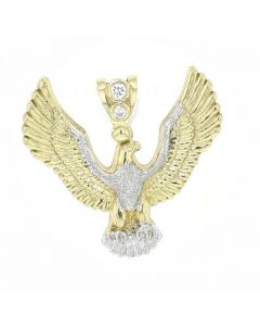 10K Gold Eagle Pendant Diamond Cut With CZ Mens Gold Charm 41mm