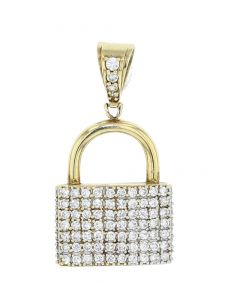 10K Gold Lock Pendant Mens Fashion Pendant Trendy Hip Hop Jewelry Iced Out With CZ
