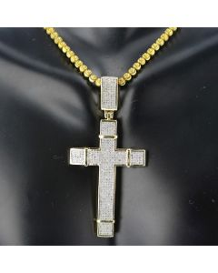 10K Gold Cross with Diamonds Mens Cross Charm 60mm 1.15ctw 2.3 Inch Tall Pave Diamonds