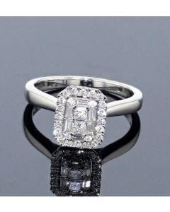 14K White Gold Engagement Ring Baguette and Round Cut 1/3ctw
