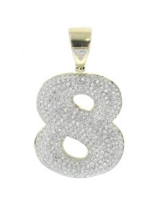 Number 8 Charm Diamond Pendant for Men or Women 10K Gold 1.13ctw 1.5 Inch Tal
