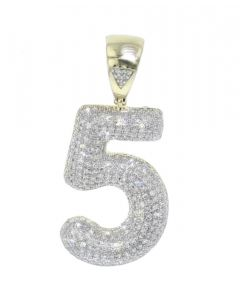 Number 5 Charm Diamond Pendant for Men or Women 10K Gold Number 5, 0.83ctw 1.5 Inch Tal