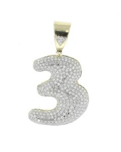Number 3 Charm Diamond Pendant for Men or Women 10K Gold Number 3 0.87ctw 1.5 Inch Tal