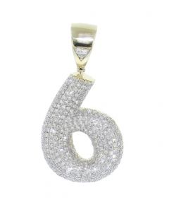 Number 6 Charm Diamond Pendant for Men or Women 10K Gold Number 6, 0.83ctw 1.5 Inch Tal