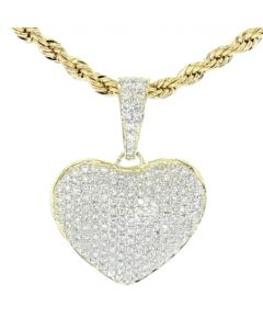 10K Yellow Gold Heart Pendant Bubble Heart 1/2ctw 24mm Womens Jewelry Love Heart Charm