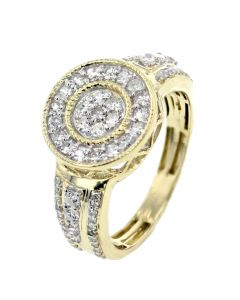 10K Gold Mens Fashion Ring With Diamonds Round Top 0.90ctw 13mm Wide Pinky Ring