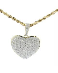 10K Yellow Gold Heart Pendant Bubble Heart 0.80ctw 28mm Womens Jewelry Love Heart Charm