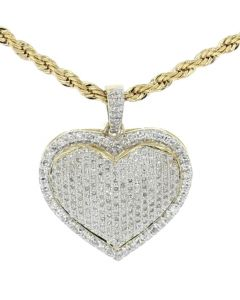 Heart Pendant With Diamonds 10K Gold Diamond Heart 0.90ctw 26MM X 22MM Layered Bubble Heart Love Pendant