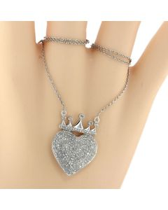 Diamond Heart With Crown Pendant and Necklace Set for Women 10K White Gold