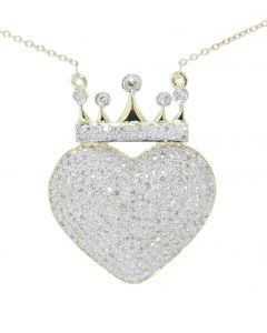 Diamond Heart With Crown Pendant and Necklace Set for Women 10K Gold