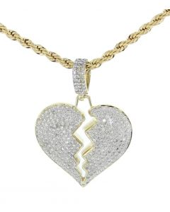 Diamond Heart Pendant 10K Gold Broken Heart Womens Love Fashion Heart Charm 0.85ctw