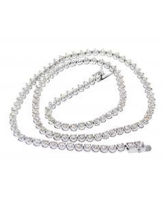18K White Gold Tennis Necklace 5.65ctw Round Diamonds