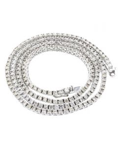 10K White Gold Tennis Necklace 9.5Ctw Round Diamonds