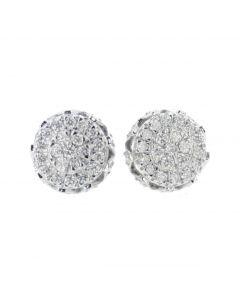 10K Yellow Diamond Stud Earrings Round Cluster Mens Earrings 0.61ctw 9mm Domed Screw Back