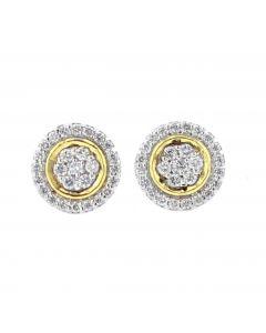 Diamond Earrings For Women Yellow Gold-Tone Round Cluster Earrings