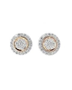 Diamond Earrings For Women Rose Gold-Tone Round Cluster
