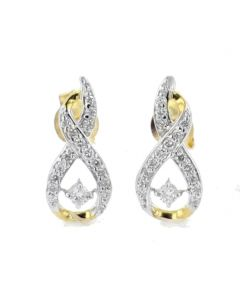 Diamond Earrings Drop Infinity Style Round Yellow Gold-Tone