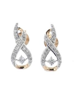 Diamond Earrings Drop Infinity Style Round Rose Gold-Tone Silver