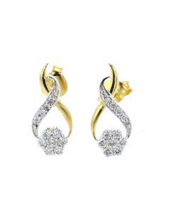 Diamond Womens Earrings Yellow Gold Drop Round Flower Set