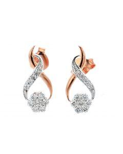 Diamond Womens Earrings Rose Gold Drop Round Flower Set