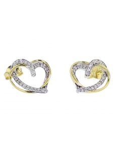 Diamond Earrings for Women Heart Earrings Yellow Gold-Tone Round