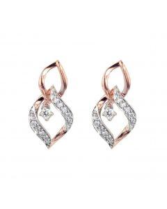 Womens Dangle Earrings Gold-Tone Diamond Linked Leaf Pattern