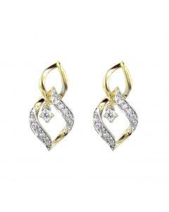 Womens Dangle Yellow Silver Linked Leaf Pattern Diamond Earrings