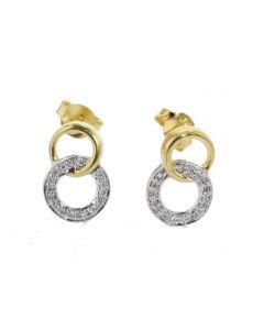 Diamond Women Earrings Linked Circle Design Drop Yellow Silver