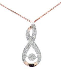 Midwest Jewellery Womens Diamond Pendant Drop Pendant Infinity Desing Rose Gold-Tone Silver 1/4ctw Diamond
