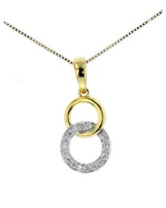 Linked Circle Womens Pendant w/ Diamond Circles Connected Yellow