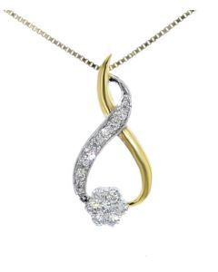 Midwest Jewellery Diamond Pendant for Womens 0.38ctw Round Cluster Infinity Design Ladies Yellow Gold-Tone Silver 23mm